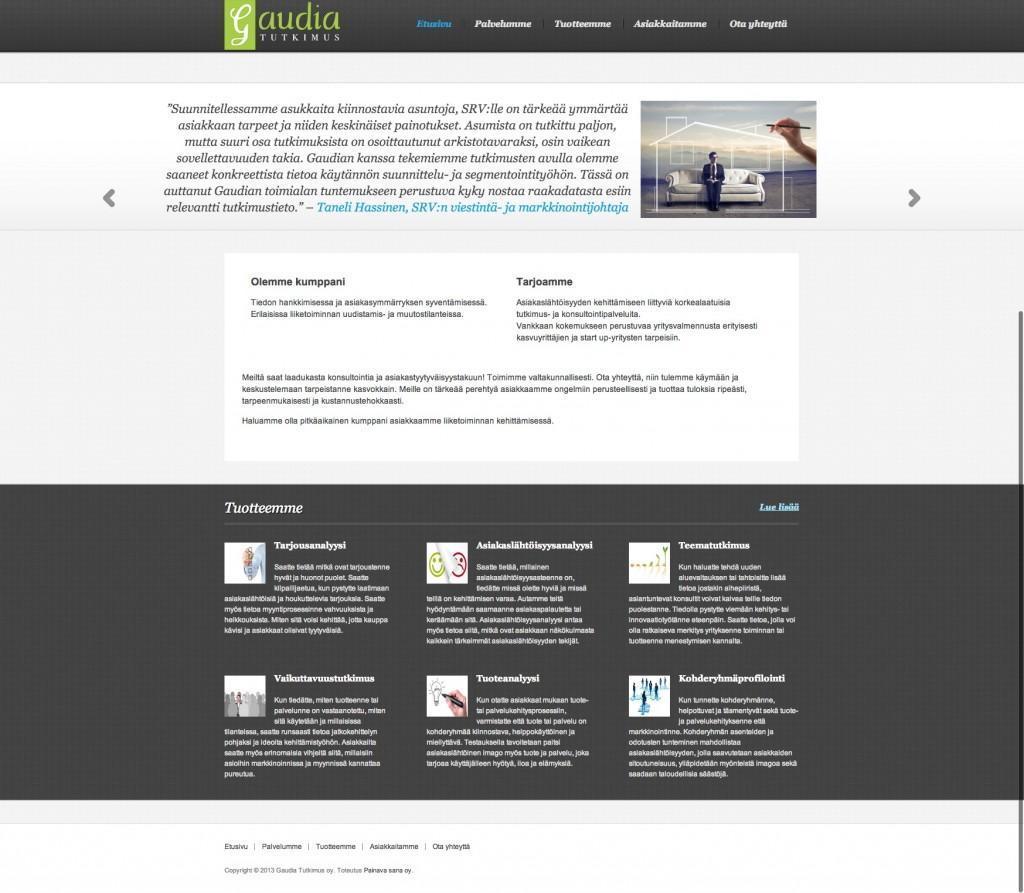 Gaudia Tutkimuksen uudet nettisivut.